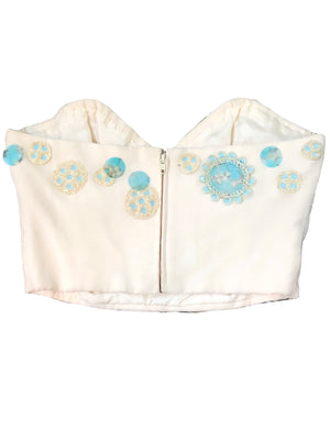 Chloe Early 2000s Ivory Bustier with Baby Blue Paillettes BACK 3 of 5