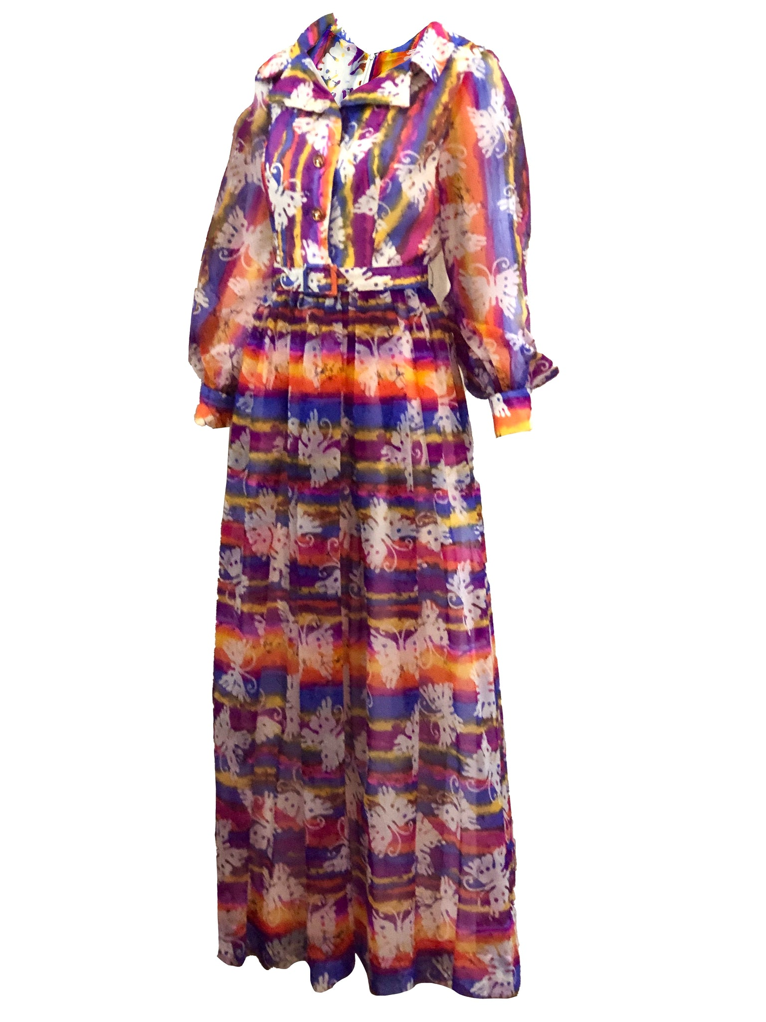 70s Butterfly Hostess Maxi Dress SIDE 2 OF 5