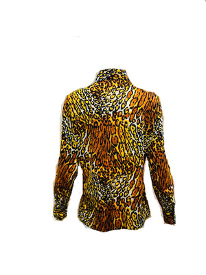 70s Leopard Print Poly Disco Shirt BACK 2 of 4