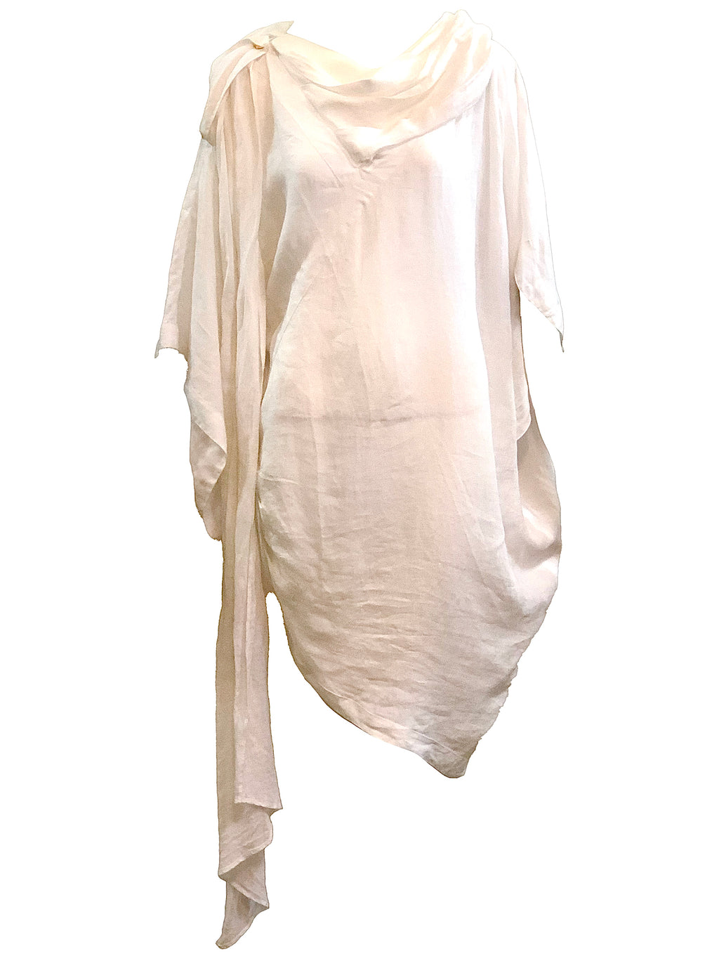 Claude Montana 80s White LInen Tunic FRONT 1 of 4