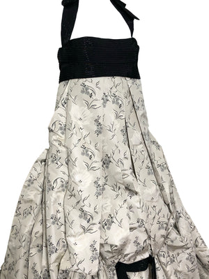 Carolina Herrera Contemporary Dove Grey Brocade Ballgown With Beaded Bandeau Top DETAIL 5 of 7