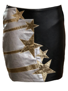 Faith Connexion Contemporary Black Leather  Mini Skirt with Stars FRONT 1 of 4