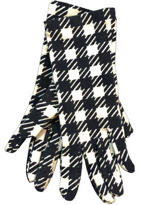 Alaia Iconic Black and White Houndstooth Gloves PAIR 1 of 3