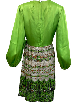 60s Unlabeled Chartreuse and Lame Party Dress BACK 3 of 5