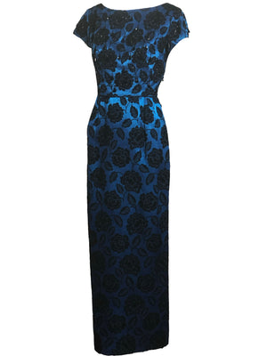 60s Electric Blue and Black Jacquard Gown with Beaded Bodice SIDE 2 of 4