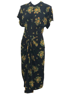 Dorothy O'Hara 40s Rayon Print Dress  ANGLE 2 of 7