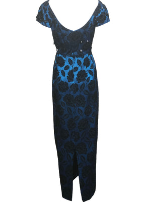 60s Electric Blue and Black Jacquard Gown with Beaded Bodice BACK 3 of 4