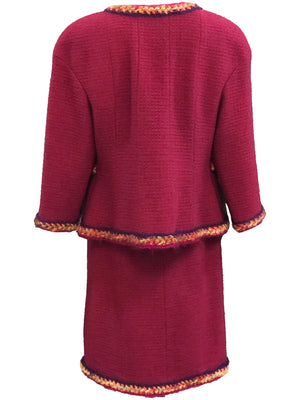 Chanel Contemporary Burgundy Boucle Suit with Matching Blouse BACK 3 of 8