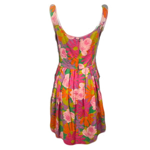 60s Dress Psychedelic Floral Mini with Ruffle Back 2 of 4