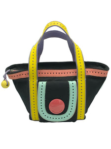 Moschino Cheap and Chic 90s Black and Rainbow Mini Canvas Tote FRONT 1 of 5