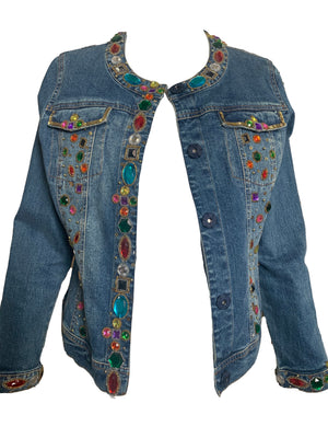 90s Bedazzled Denim Jacket  OPEN FRONT 4 of 6