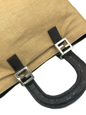 Fendi Linen Mini  Tote HANDLE DETAIL 4 of 6