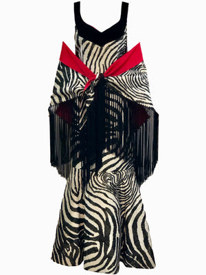 Arnold Scaasi 1992 Zebra Print Bombshell Gown with Shawl FRONT WITH SHAWL 3 of 6