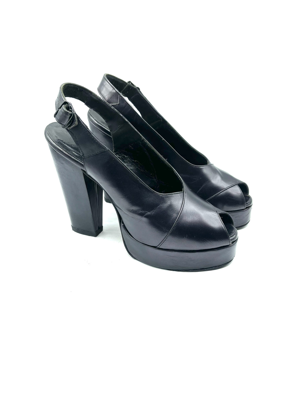 Kimel Iconic 70s Does 40s  Black Leather Platform Shoes SIDE 1 of 8