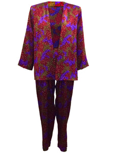 YSL 80s Multi-Color Silk Speckled 3 Piece Pant Suit Ensemble  FRONT 1 of 7