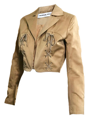 Patrick Kelly Tan Cropped Lace Up Jacket  SIDE 1 of 5
