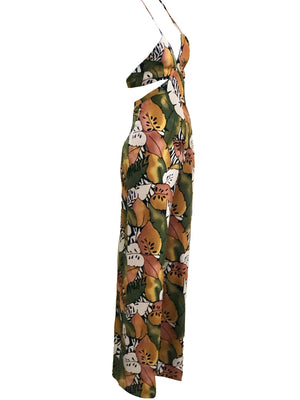 Geoffrey Beene 90s Tropical Themed Halter Jumpsuit SIDE 2 of 4