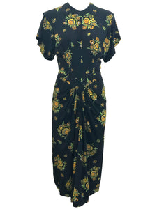 Dorothy O'Hara 40s Rayon Print Dress  FRONT 1 of 7