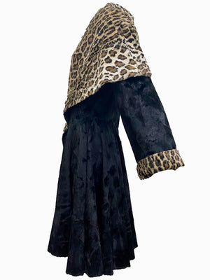 Norma Kamali 1985 Black and Faux Leopard Print Coat  SIDE 2 of 6