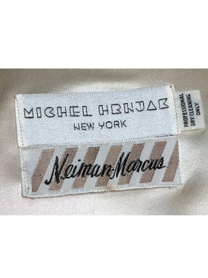 Michel Henjak 80s ivory satin Quilted Hand-Painted Vest LABEL  4 of 4