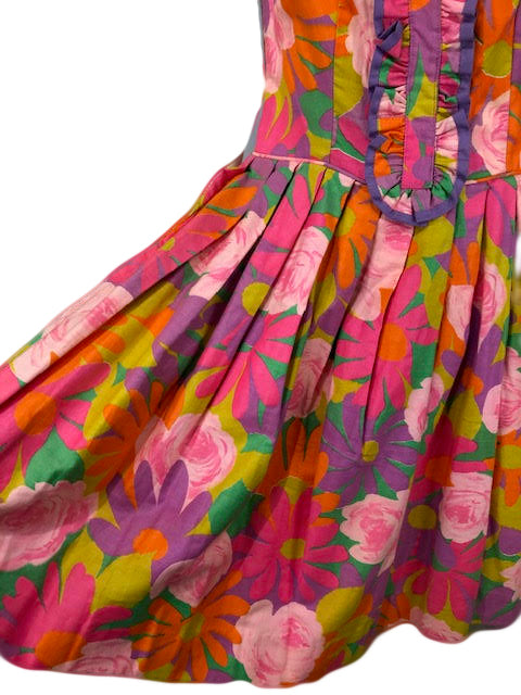 60s Dress Psychedelic Floral Mini with Ruffle Detail B 4 of 4