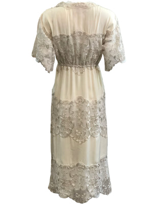 Sant Angelo Dress 70s Ivory Crepe and Silver Shot Lace BACK 3 of 4