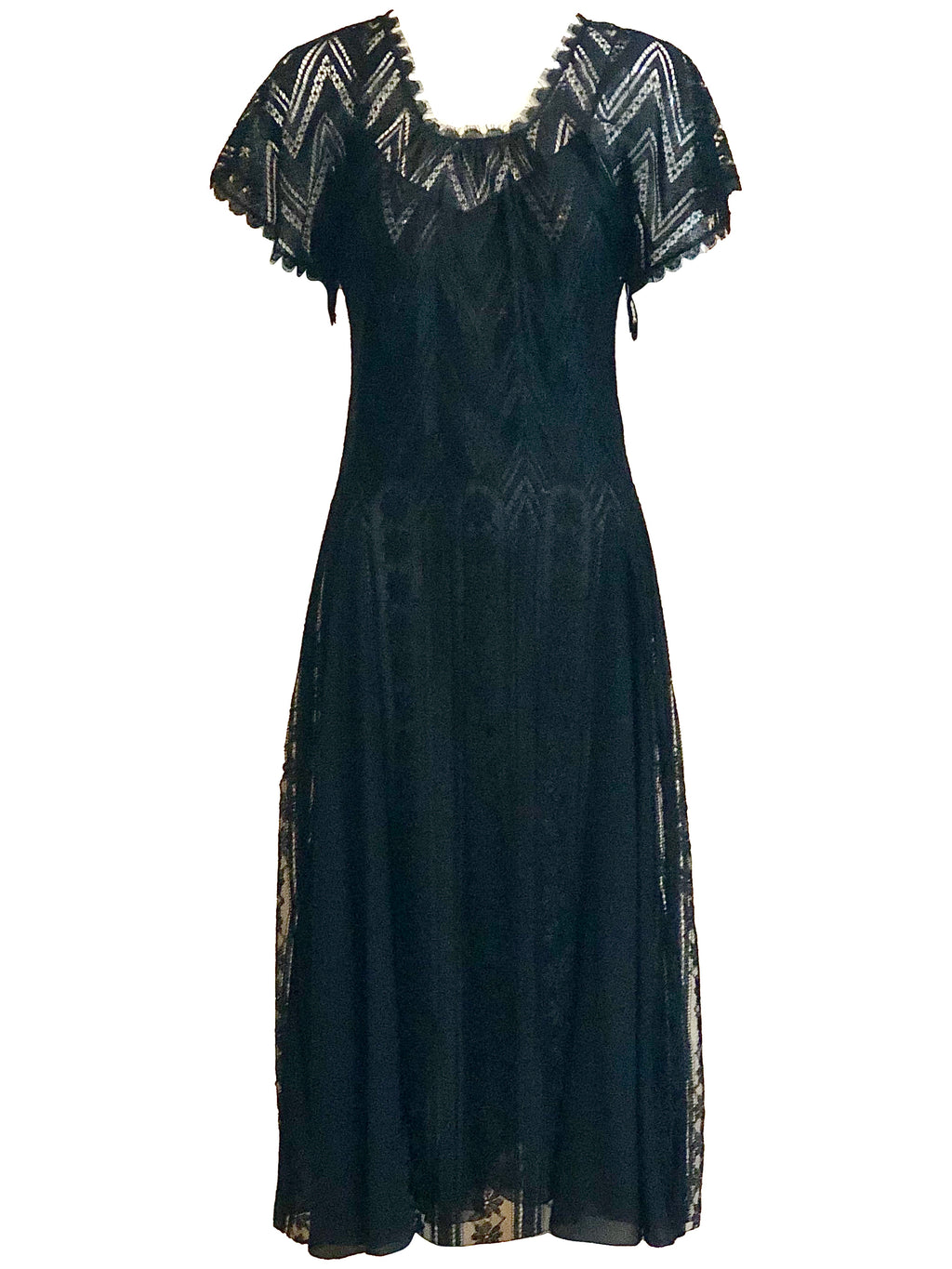 Holly's Harp 70s Black Deco Dress  Jersey and Chiffon FRONT 1 of 4