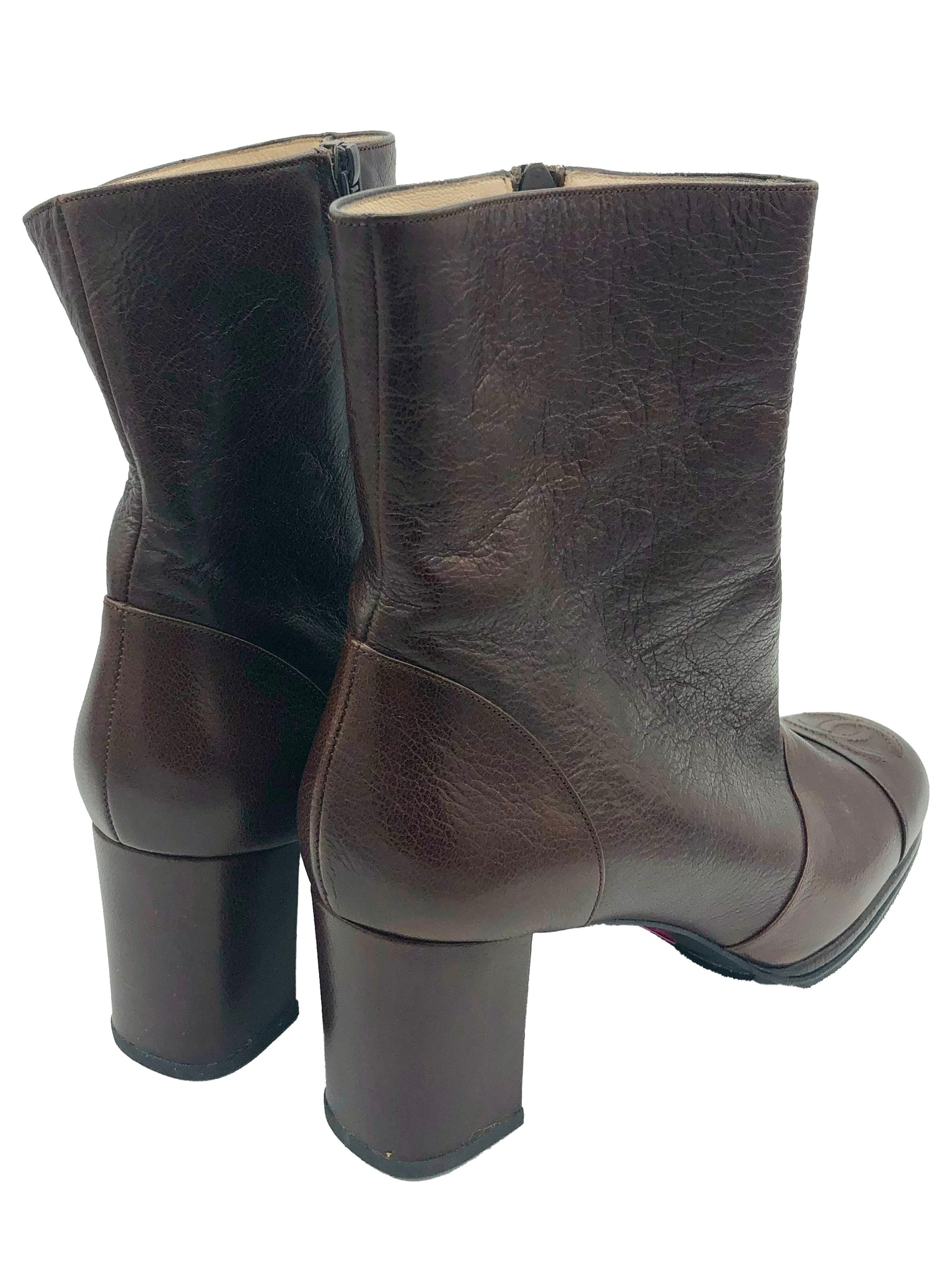 Chanel Early 2000s Chocolate Brown Ankle Boots with CC Logo BACK 3 of 4