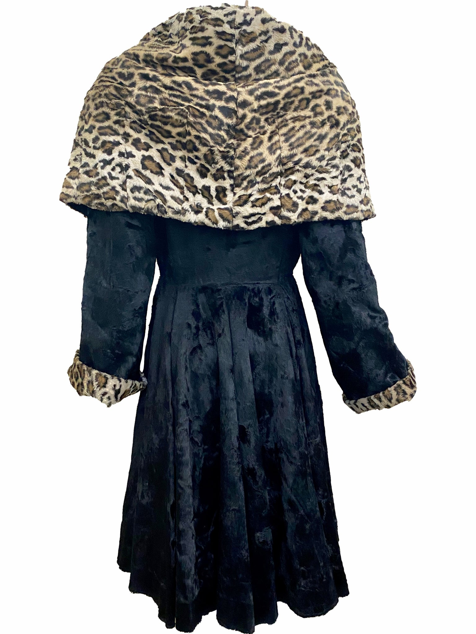 Norma Kamali 1985 Black and Faux Leopard Print Coat  BACK 3 of 6