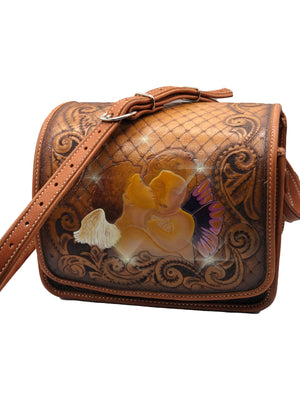Hand Tooled Leather Shoulder Bag with Cupids FRONT 1 of 4