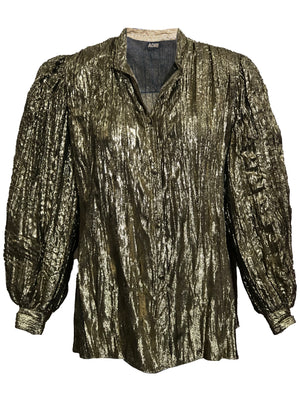 Adri Gold Blouse with Balloon Sleeves  FRONT 1 of 4