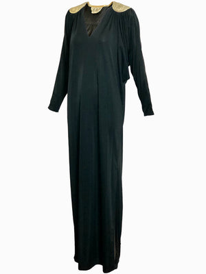 Bill Tice 70s Black Jersey Evening Caftan FRONT 1 of 4