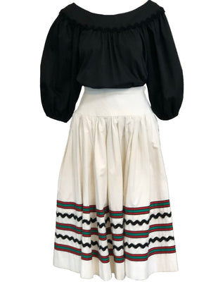 YSL 1970s Peasant Ensemble in Black and White FRONT 1 of 6
