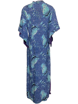 40s Hawaiian Blue Pineapple Print Rayon Pake Muu Dress  BACK 2 of 6