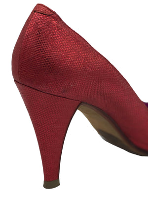 Andrea Pfister 80s Red Metallic Peep Toe Pumps HEEL 4 of 4