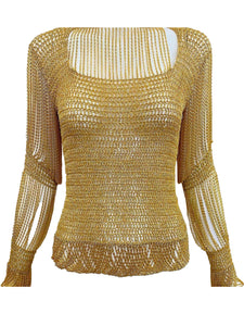 Loris Azzaro Gold Lurex Crochet Pullover Top with Looped Fringe FRONT 1 of 5