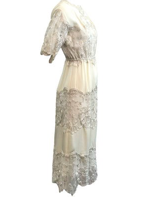 Sant Angelo Dress 70s Ivory Crepe and Silver Shot Lace SIDE 2 of 4