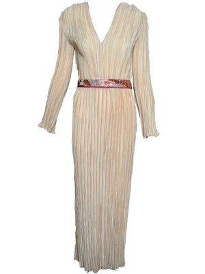 Mary Mcfadden Attribution Gown Peach Pleated Column with Belt FRONT 1 of 5