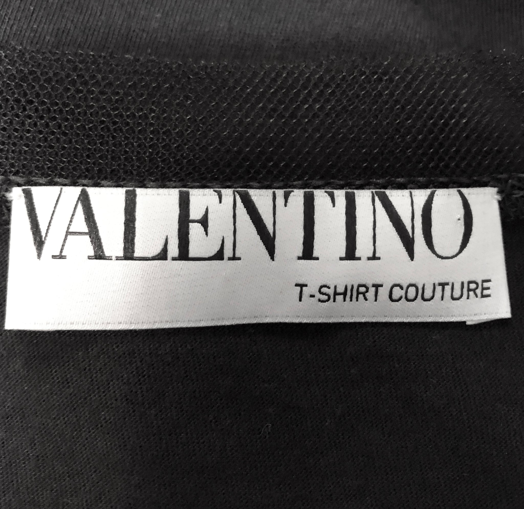 Valentino Contemporary Black Tulle Tee With Rhinestone Medallion LABEL 4 of 4
