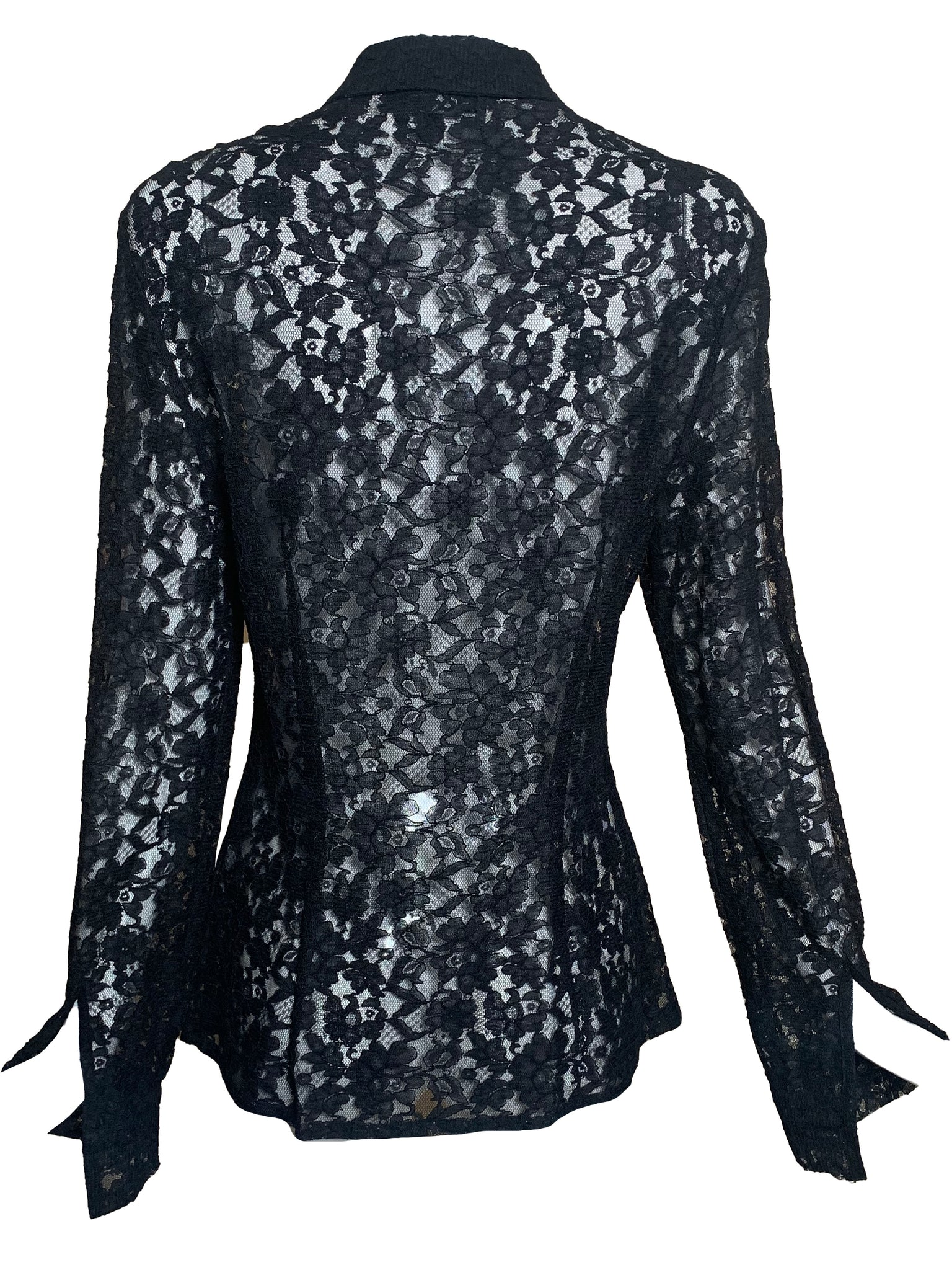 Dolce and Gabbana Black lace Button Down Blouse BACK 3 of 5
