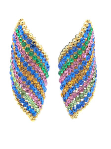 90s Rainbow Swirl Rhinestone Earrings FRONT 1 of 2