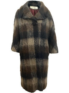 Lilli Ann Petite Mohair Blend Brown Plaid Coat FRONT 1 of 6