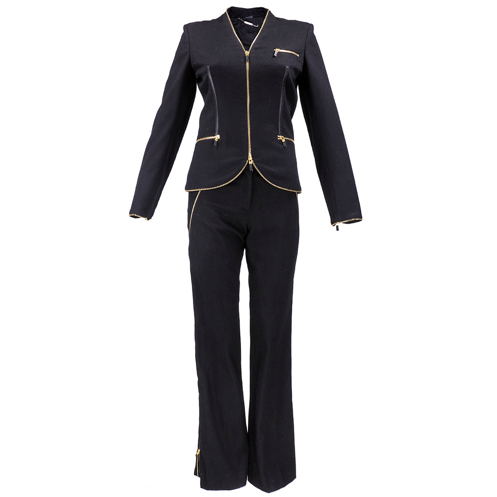 MCQUEEN Black Zipper Edged Pant Suit