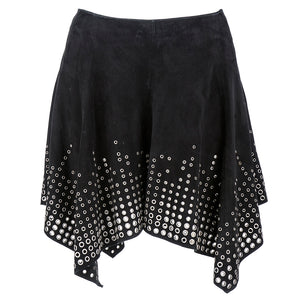MCQUEEN Suede Grommeted Asymmetrical Mini Skirt
