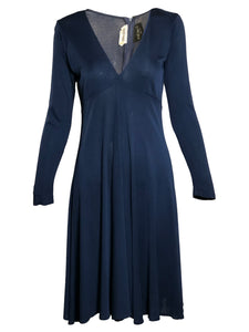 Scott Barrie 70s Blue Jersey  Dress  FRONT 1 of 4