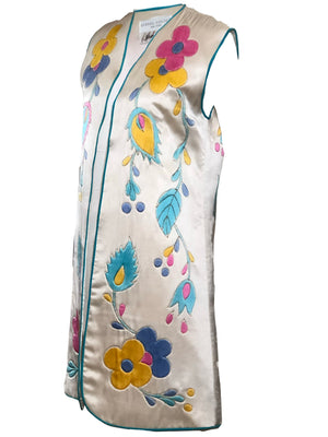 Michel Henjak 80s ivory satin Quilted Hand-Painted Vest SIDE 2 of 4