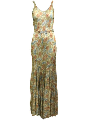 30s Gown Gold Lame with Belt  FRONT 1 of 5