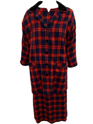 Aljean 60s 3 Piece Ensemble of Red and Blue Wool Plaid -Dress, Coat and Hat FRONT ENSEMBLE 2 of 8