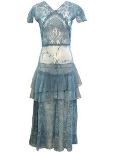 20s Cornflower Blue Tulle Gown with Embroidery FRONT 1 of 3