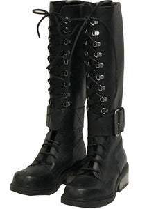 Dirk Bikkembergs 90s Tall Lace Up Boots with Buckle ANGLE 1 of 6